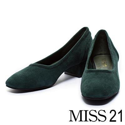 高跟鞋-MISS-21復古極簡方頭深口羊麂皮粗跟鞋