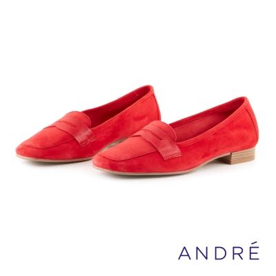ANDRE-學院風平底樂福鞋-優雅紅