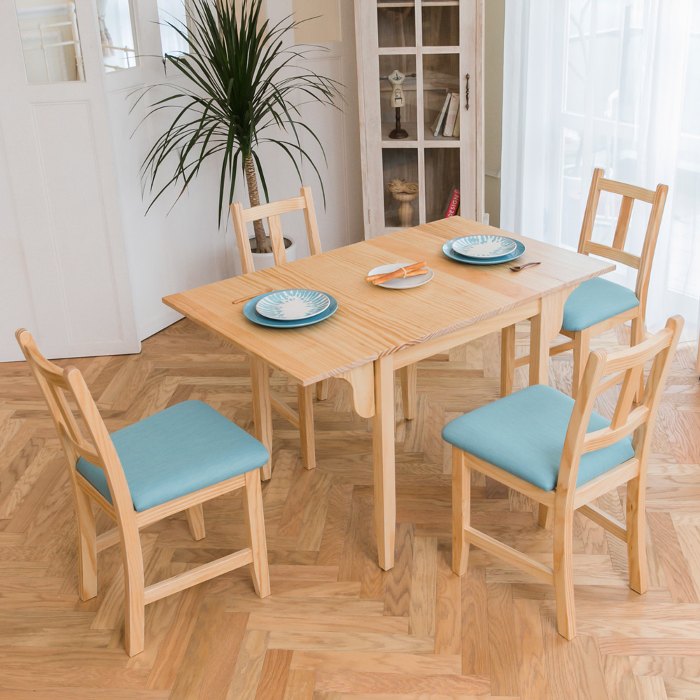 CiS自然行實木家具- 南法雙邊延伸實木餐桌椅組一桌四椅74x122公分/原木+湖水藍椅墊