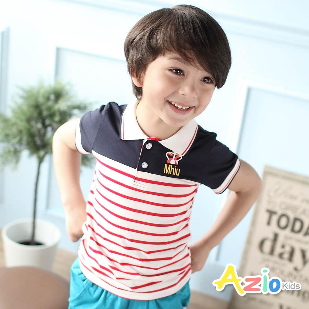 Azio Kids-POLO衫 撞色拼接紅條紋棉質T恤(深藍)