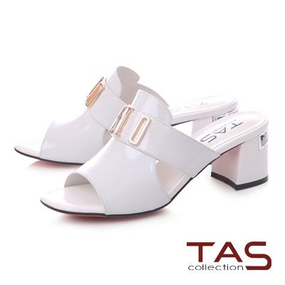 TAS金屬字母側鏤空方頭粗跟涼拖鞋-時尚白