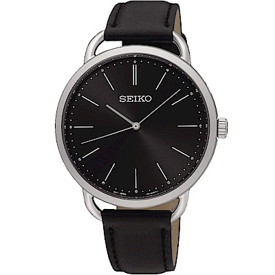 SEIKO 精工 城市熱愛 簡約三針設計男錶(SUR233P1)-黑/38mm