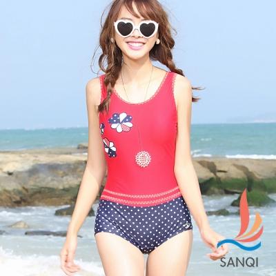 SANQI三奇 圓點時光 一件式連身泳裝(紅藍L.XL)