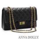 ANNA DOLLY 復刻典雅Viola珍珠紋菱格鍊帶包 經典黑