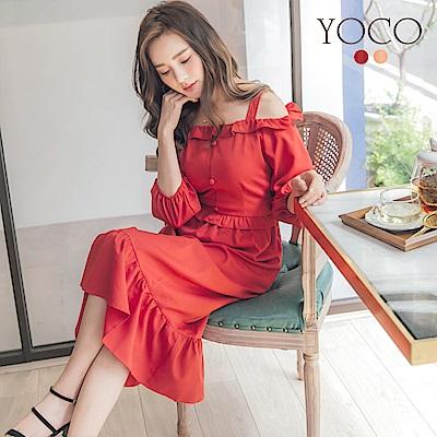 東京著衣-yoco 甜氛美人荷葉邊拼接露肩洋裝-S.M.L(共二色)