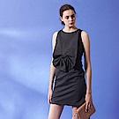 設計獨家款立體剪裁蝴蝶結無袖合身連身造型禮服洋裝-黑