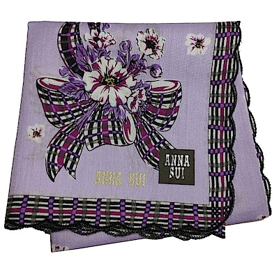ANNA SUI 優雅蝴蝶結花束金色字母LOGO帕領巾(淺紫色)