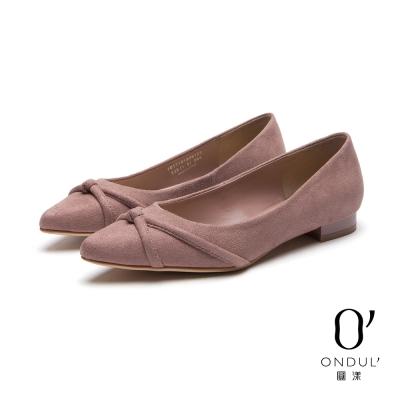 達芙妮x高圓圓-圓漾系列-平底鞋-立體交叉帶絨面尖頭平底鞋-粉