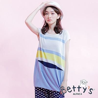 betty's貝蒂思 撞色無袖針織衫(淺藍)