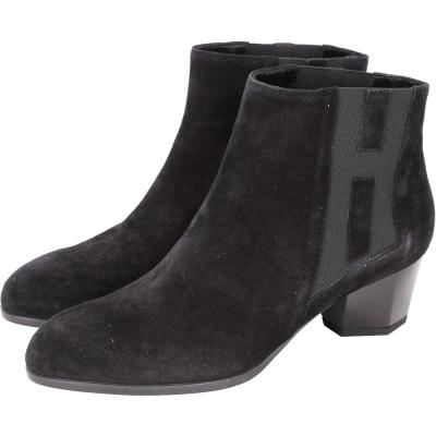 HOGAN H LOGO束帶設計麂皮粗跟踝靴(黑色)