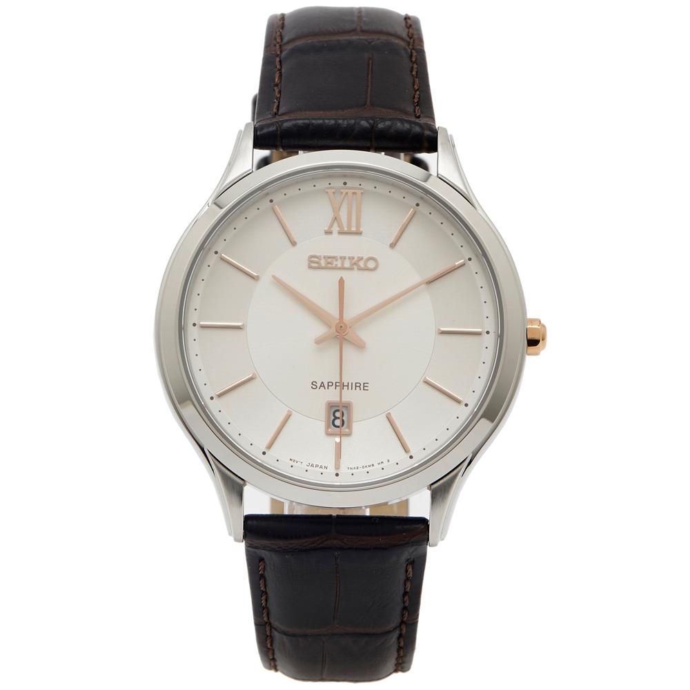 SEIKO 文青風藍寶石鏡面的皮革手錶(SGEH55P1)-淡香檳色面/42mm