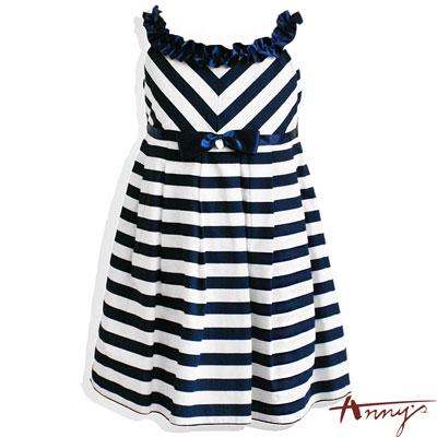 優雅條紋緞面立體荷葉領長擺洋裝*5130藍