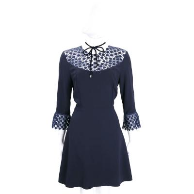 PINKO 深藍色織花拼接領口綁帶設計七分袖洋裝