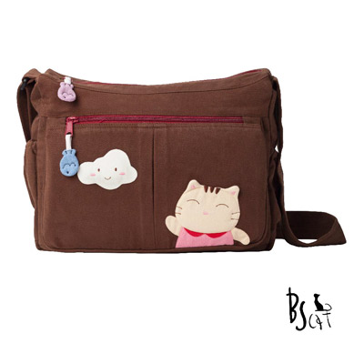 ABS貝斯貓 可愛貓咪拼布 肩背包 斜揹包 (咖) 88-210