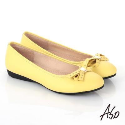A.S.O舒適通勤 全真皮鉚釘蝴蝶結飾奈米平底鞋 黃
