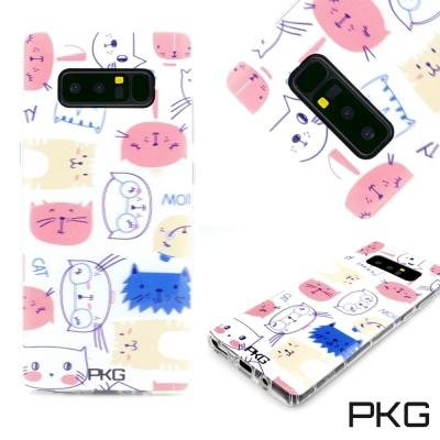 PKG SAMSUNG Note8 彩繪空壓氣囊保護殼-浮雕彩繪-情境貓