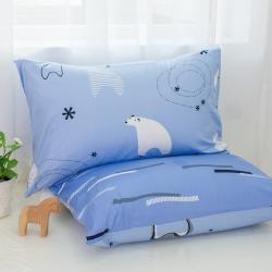 鴻宇HongYew 美國棉 防蹣抗菌-小白熊 藍 枕套2入