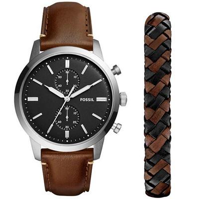 FOSSIL Townsman紳士計時真皮手錶(FS5394SET)-黑X咖啡帶/45mm