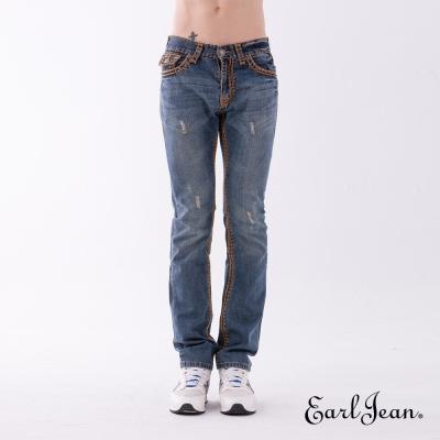 Earl Jean 磨破粗車線低腰合身窄管褲-中藍-男