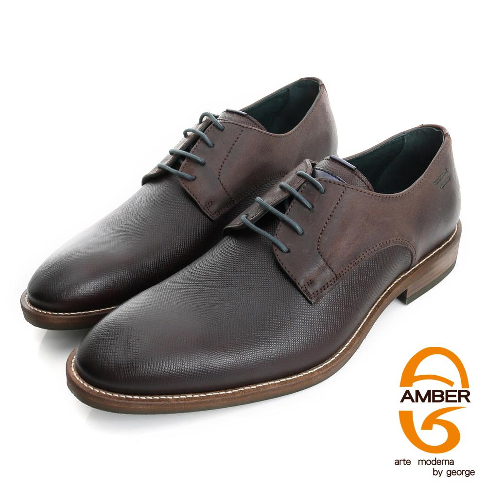 【AMBER】帥性都會 葡萄牙進口時尚壓紋紳士鞋皮鞋(男)-咖色