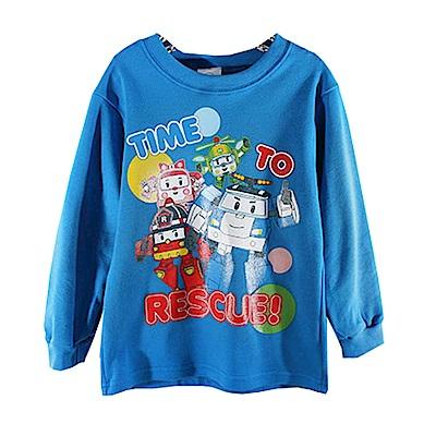 POLI純棉圓領長袖T恤 藍 k60019