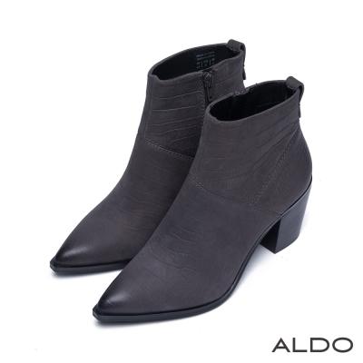 ALDO-俐落原色真皮拼接尖頭粗跟靴-內斂深灰