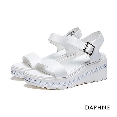 達芙妮DAPHNE 涼鞋-立體鋸齒刻紋一字楔型涼鞋-白