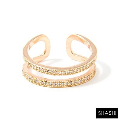 SHASHI 紐約品牌 Double Bar 雙層鑲鑽玫瑰金戒指 925純銀鑲18K