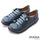 DIANA 樂活休閒--伸縮綁帶饅頭真皮休閒鞋-藍