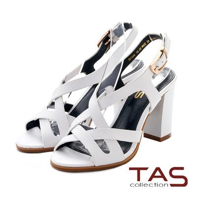 TAS 交叉繞踝鏤空繫帶粗跟涼鞋~魅力白
