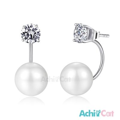 AchiCat後掛式耳環925純銀 擬真鑽 幸福美滿 6mm