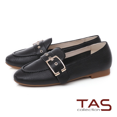 TAS 金屬皮帶扣立體縫線樂福鞋-實搭黑