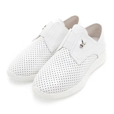 PLAYBOY時尚輕旅 洞洞透氣真皮休閒鞋-白