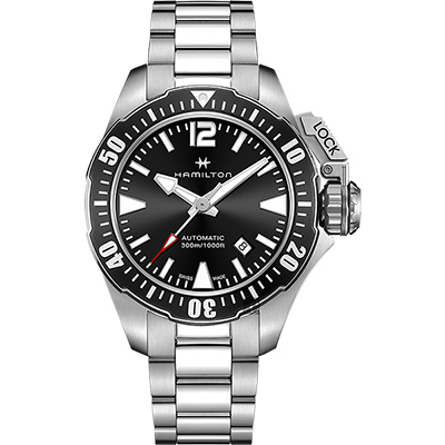 Hamilton 漢米爾頓 卡其海軍 蛙人300米潛水機械錶-黑x銀/42mm