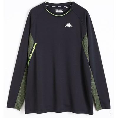 KAPPA 義大利 黑/面黑底蘋果綠  雙色布料 KOOLDRY吸濕排汗型男彩色長袖衫