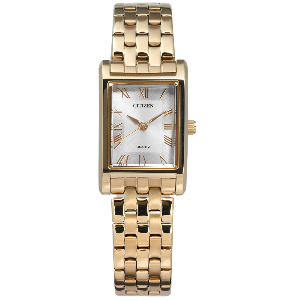 CITIZEN 珍珠母貝 礦石強化玻璃 羅馬時標不鏽鋼手錶-銀x鍍香檳金/18mm