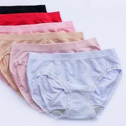 內褲 一緹花一體成型中腰無縫褲(六件入)褲褲嫂專業內褲