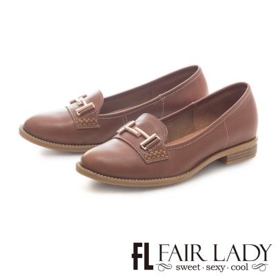 Fair Lady 簡約學院風金屬飾釦樂福鞋 棕