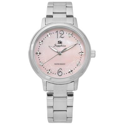 Sapphire  甜心蝴蝶結圈藍寶石水晶不鏽鋼手錶-淺粉色 /31mm