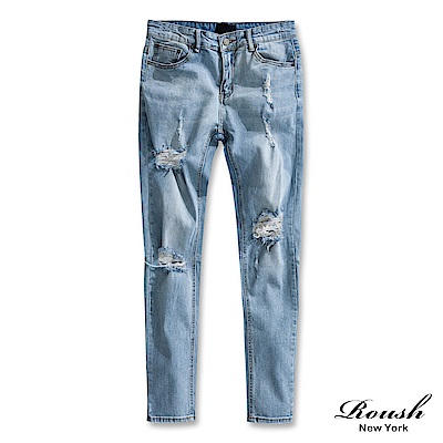 ROUSH 刀割破壞水洗淺色牛仔褲
