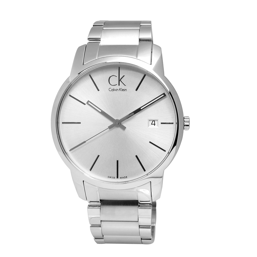 CK  永恆記憶 日期不鏽鋼手錶-白色 /41mm