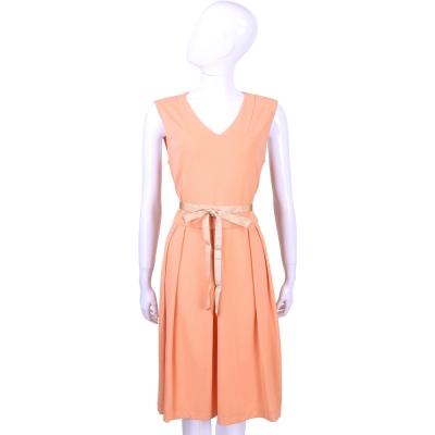 MAX MARA 粉橘色V領無袖洋裝(附綁帶)