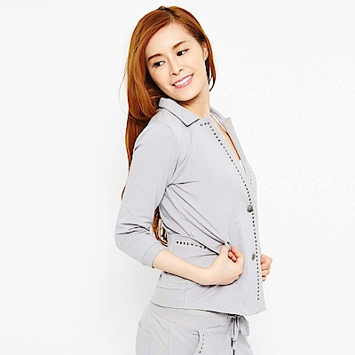 【TOP GIRL】針織七分袖西裝外套-灰色