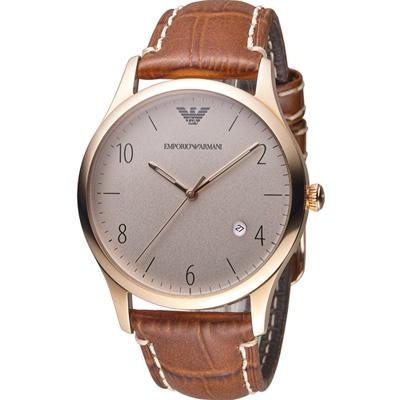 Emporio Armani Classic 紳士復刻經典腕錶-玫瑰金色/ 41mm