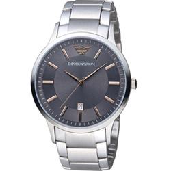 EMPORIO ARMANI Classic 簡約內斂時尚腕錶-灰/43mm
