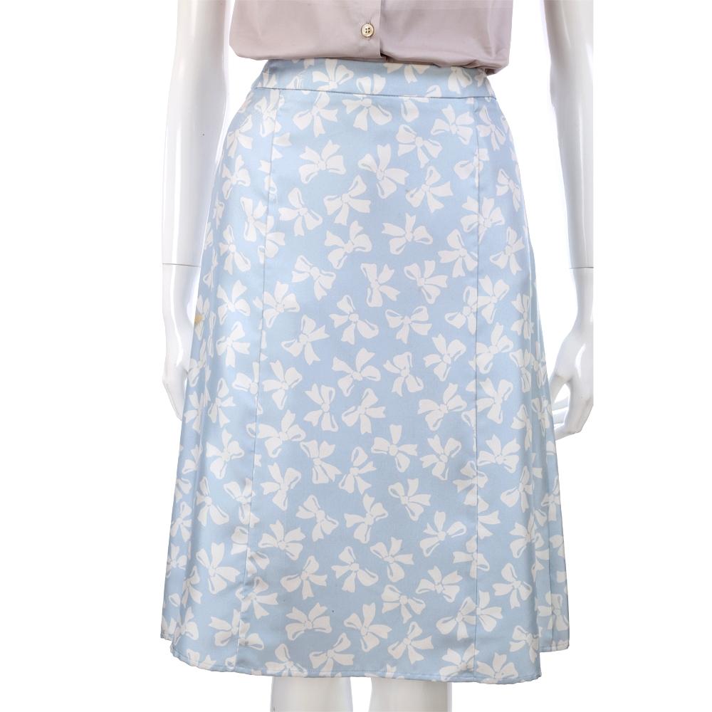 VALENTINO 水藍色蝴蝶結圖紋及膝裙