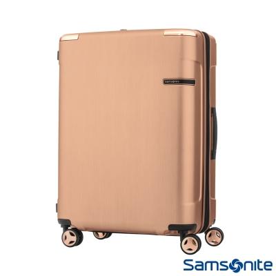 Samsonite新秀麗25吋 Evoa 拉絲光澤防盜拉鍊抗震輪TSA硬殼行李箱(玫瑰金)
