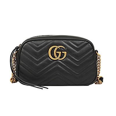 GUCCI GG Marmont 斜紋皮革復古金屬鍊帶斜背包(黑色)