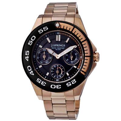 J.SPRINGS系列  八度空間三眼計時時尚腕錶-玫瑰金/30mm