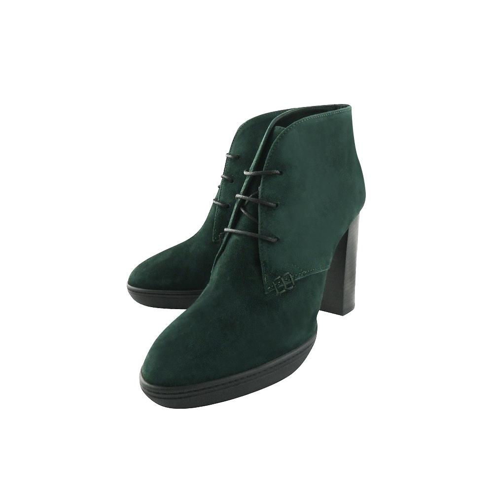 TODS 麂皮綁帶高跟短靴-35.5/38號(湖水綠色)
